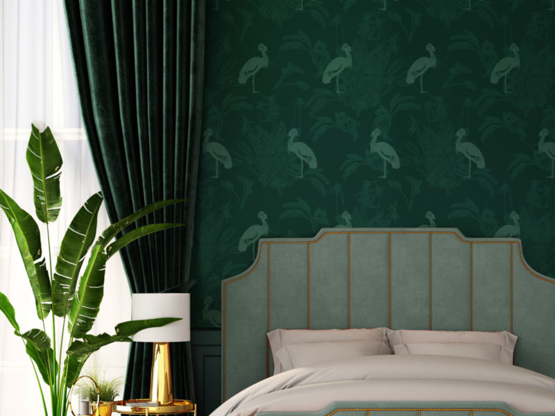 Jade Crane Wallpaper Mock Up